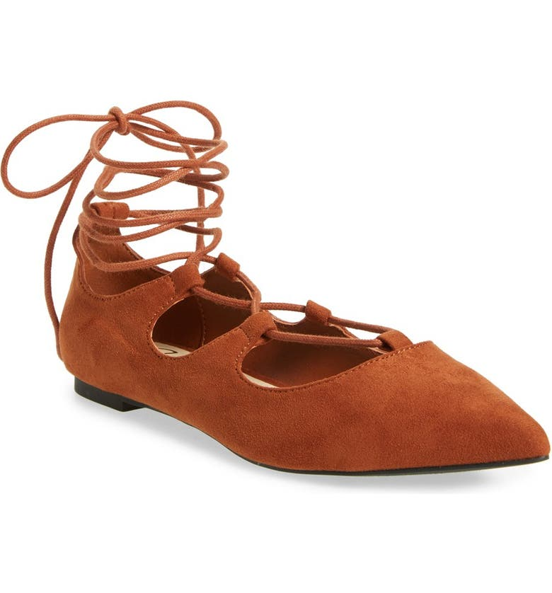 CALLISTO 'Rian' Ghillie Lace Pointy Toe Flat, Main, color, 240