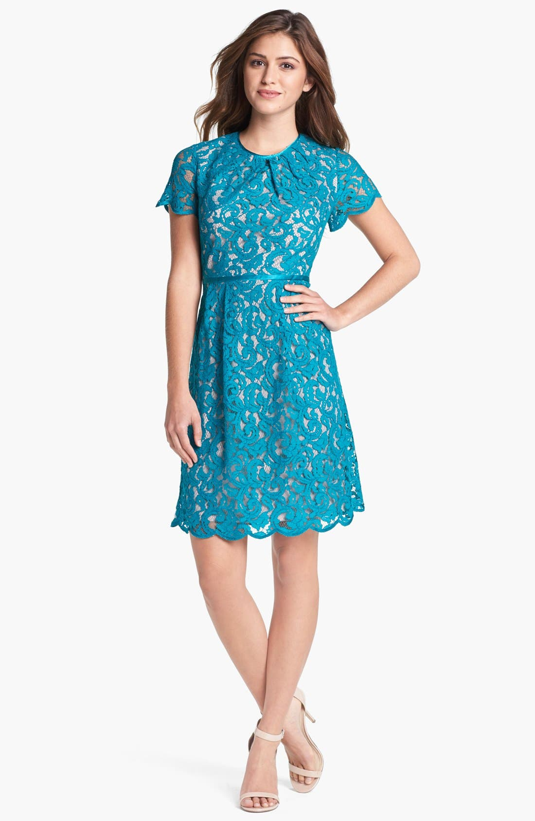 ,                             Scalloped Lace Dress,                             Main thumbnail 6, color,                             444
