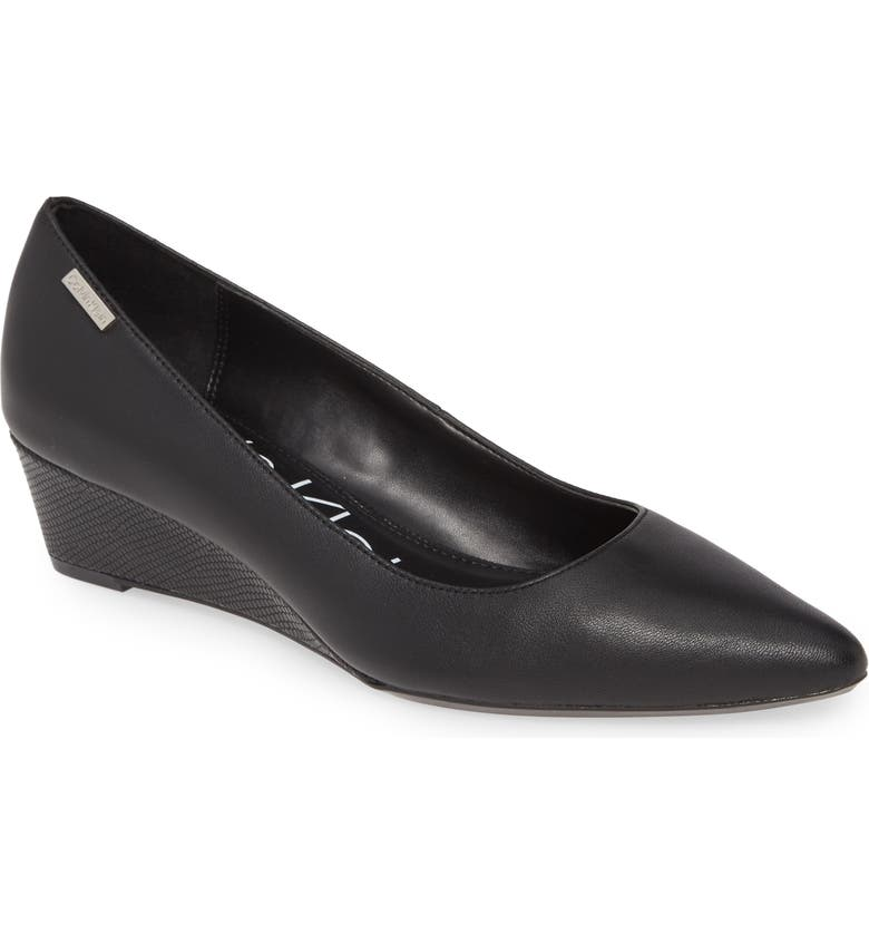 CALVIN KLEIN 'Germina' Pointy Toe Wedge, Main, color, BLACK NAPPA LEATHER