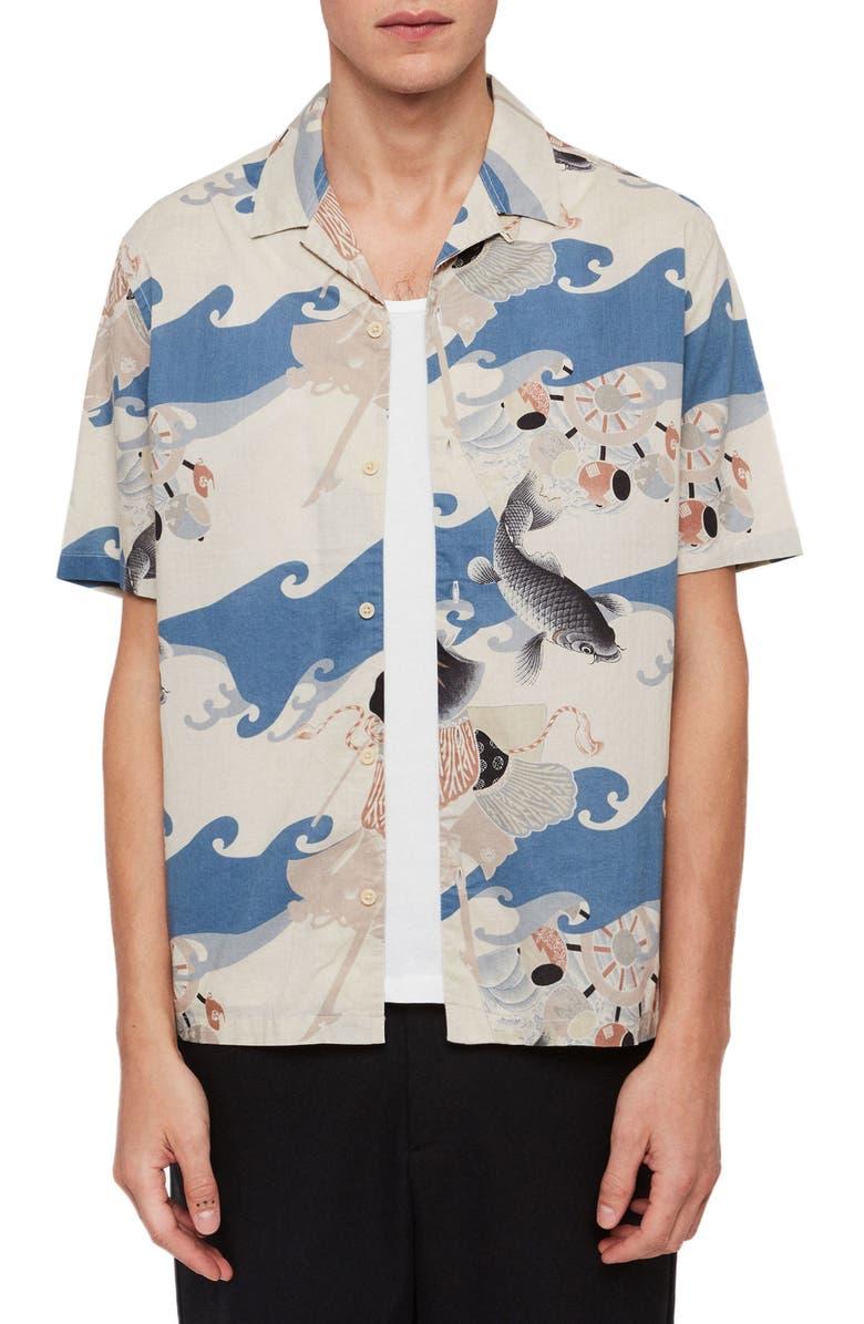 ALLSAINTS Pisces Slim Fit Print Short Sleeve Button-Up Camp Shirt, Main, color, BLUE