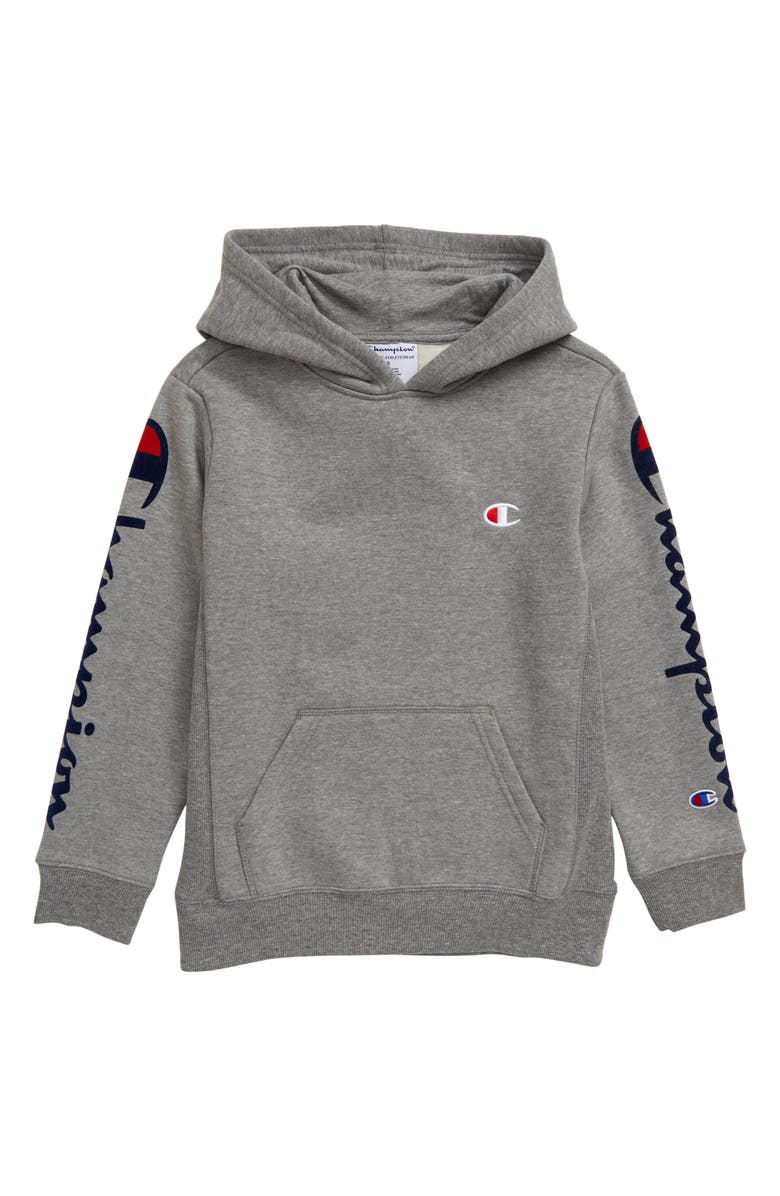 CHAMPION Flocked Logo Crewneck Sweatshirt, Main, color, OXFORD HEATHER