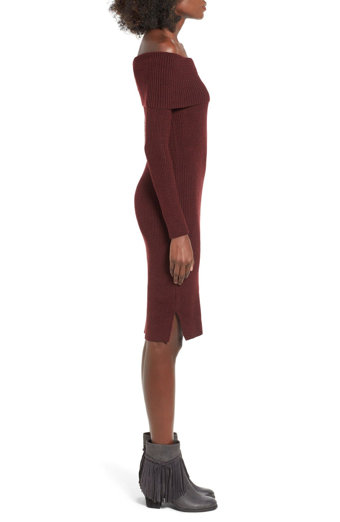 ,                             Off the Shoulder Knit Body-Con Dress,                             Alternate thumbnail 9, color,                             930