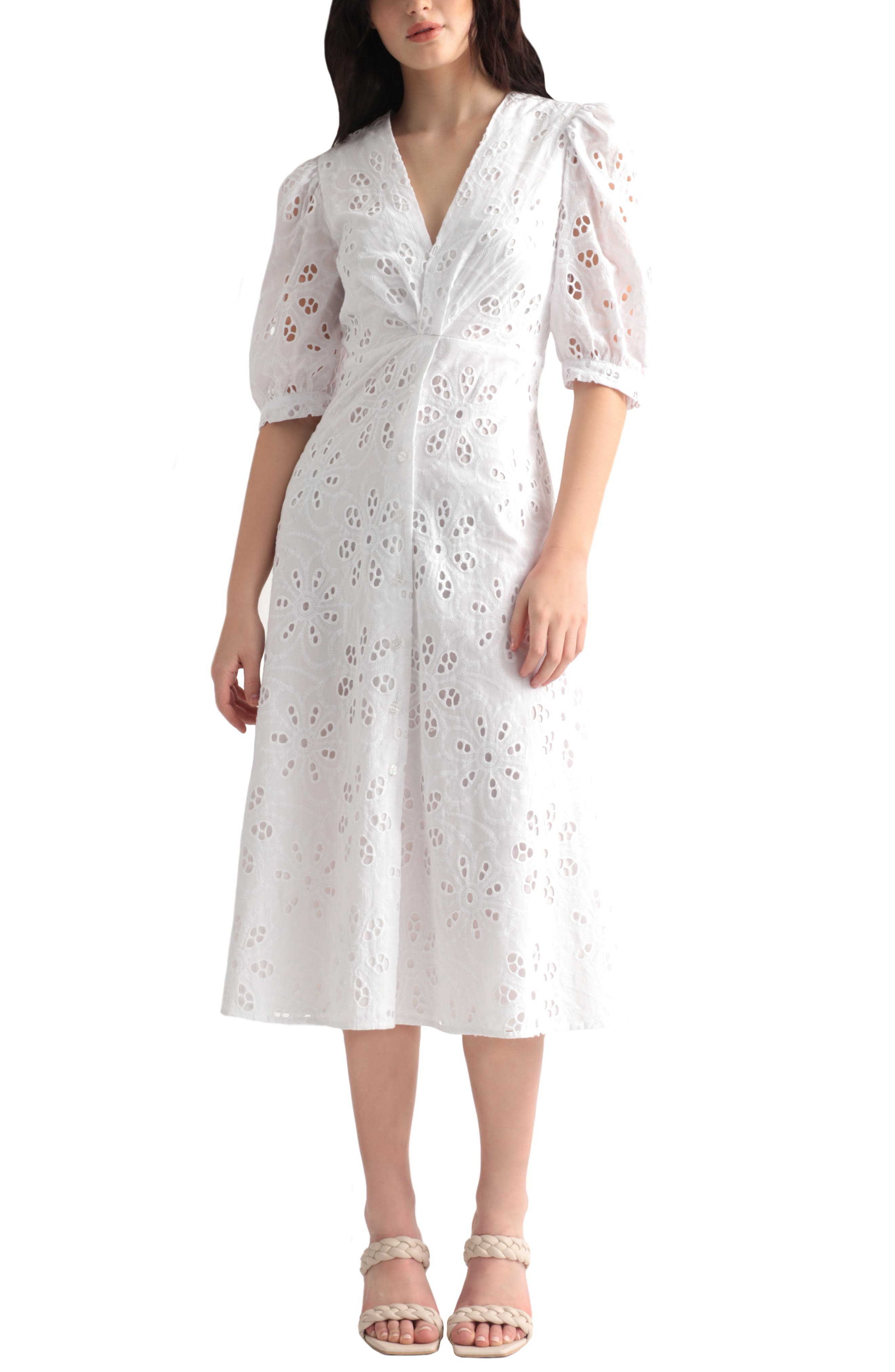 Puff Sleeve Cotton Eyelet Midi Dress