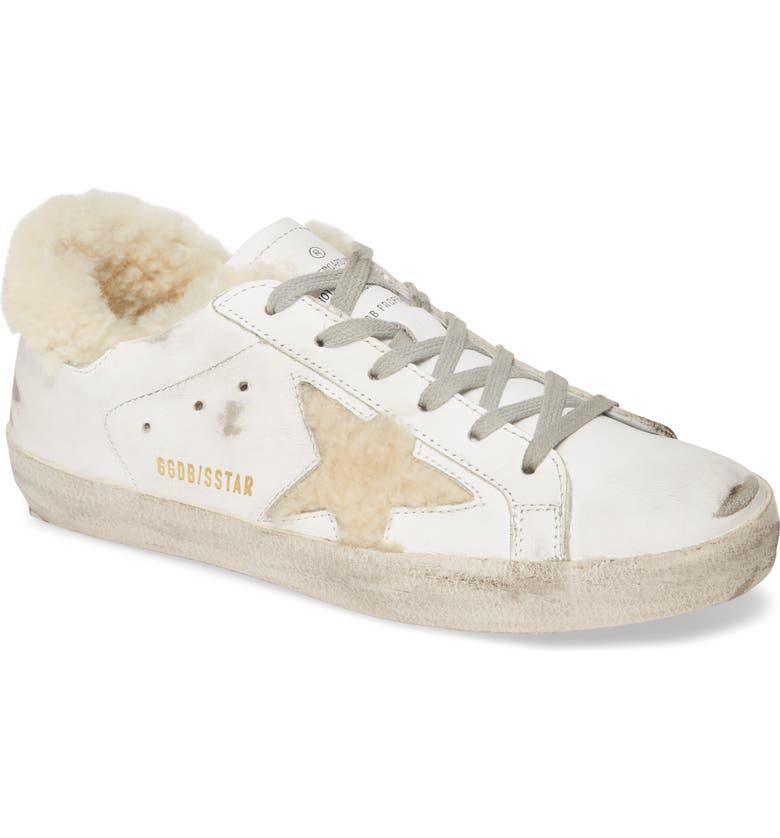 GOLDEN GOOSE Superstar Genuine Shearling Lined Sneaker, Main, color, 102