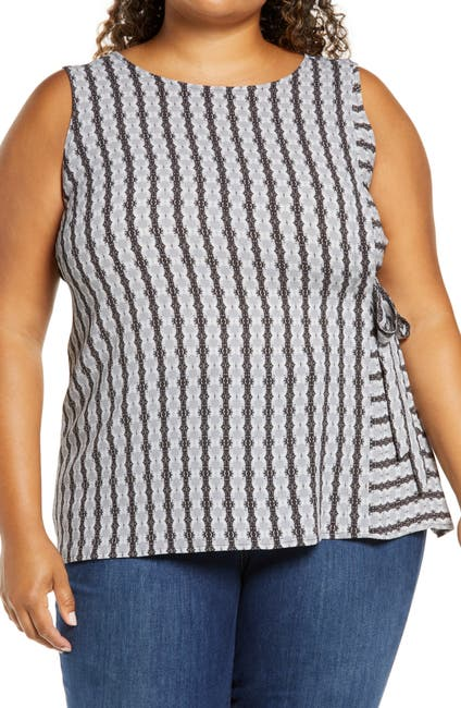 Image of Vince Camuto Striped Side Tie Sleeveless Top