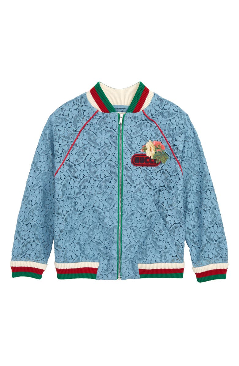 GUCCI Lace Bomber Jacket, Main, color, 400