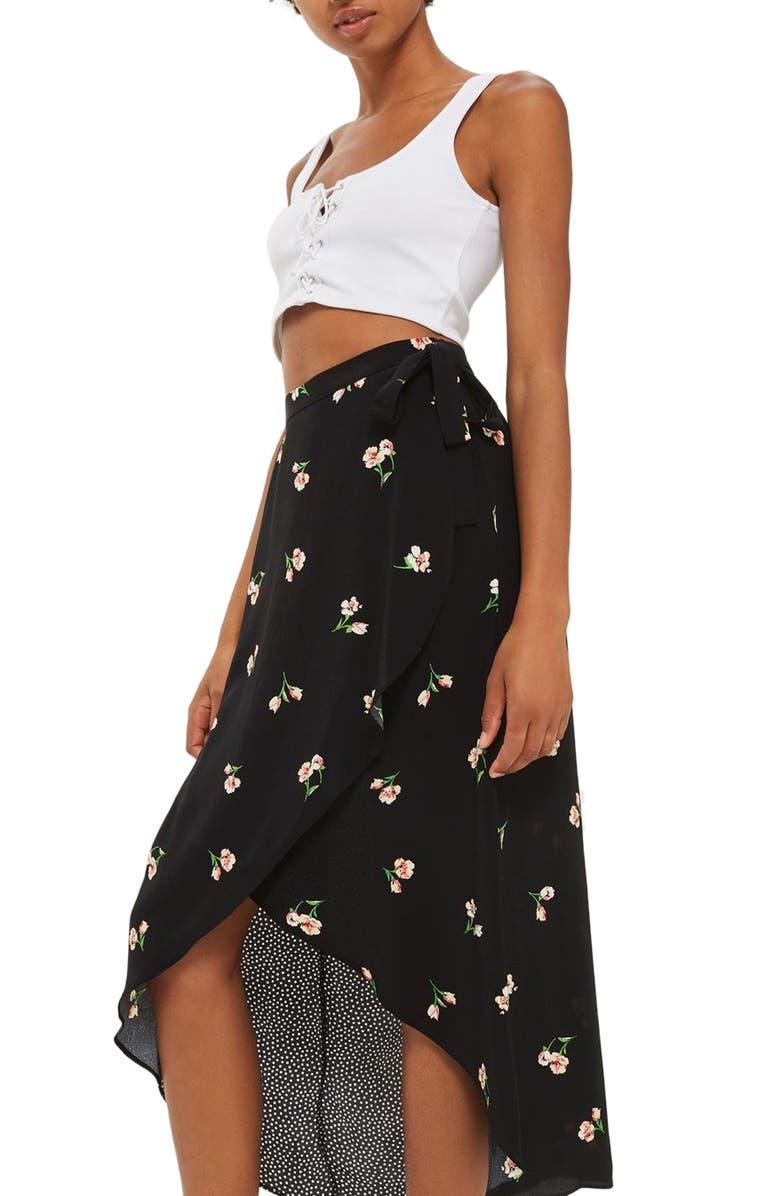 TOPSHOP Floral Dot Wrap Skirt, Main, color, 001