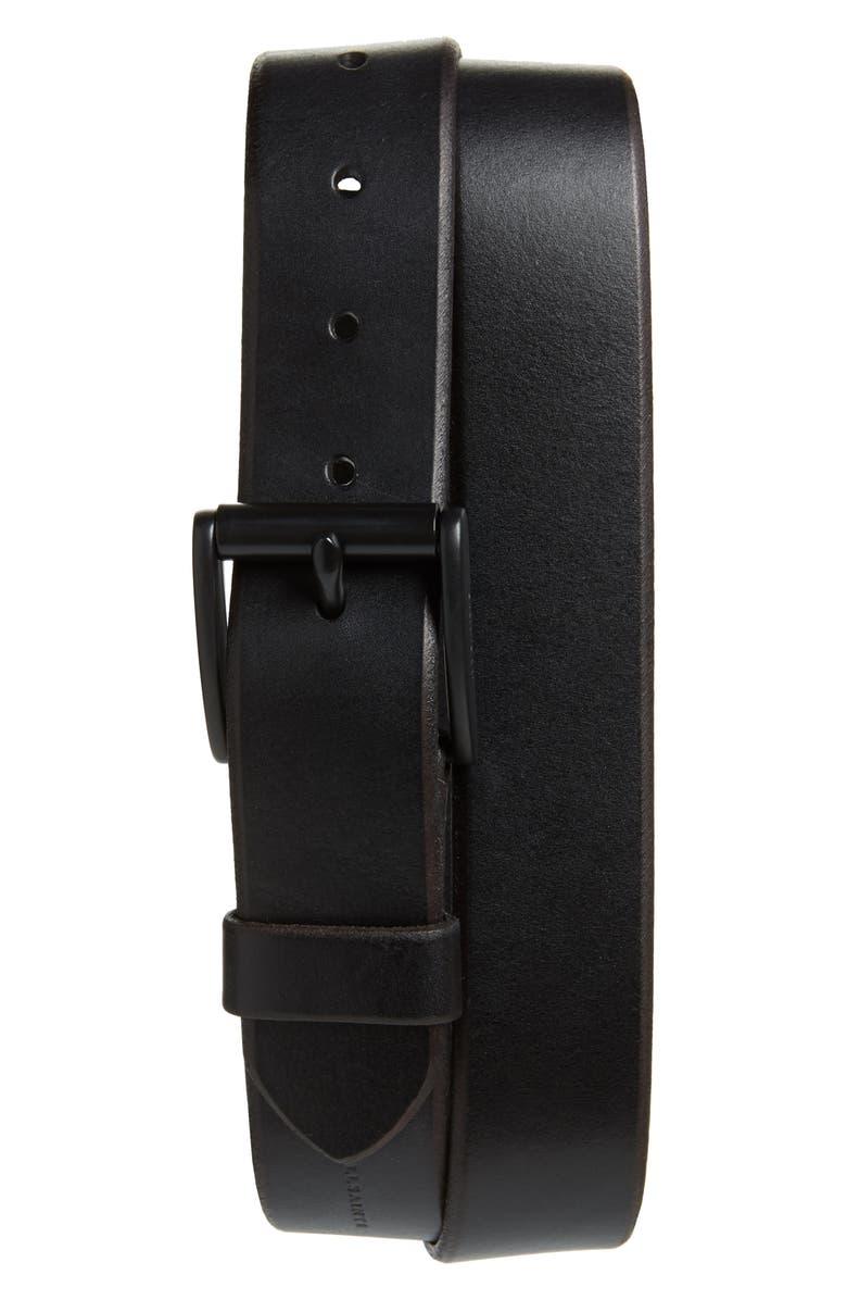 ALLSAINTS Leather Belt, Main, color, 001
