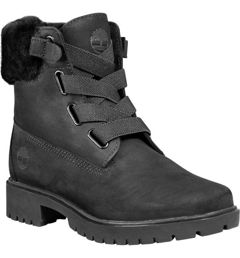 TIMBERLAND Jayne Waterproof Genuine Shearling Trim Bootie, Main, color, 001