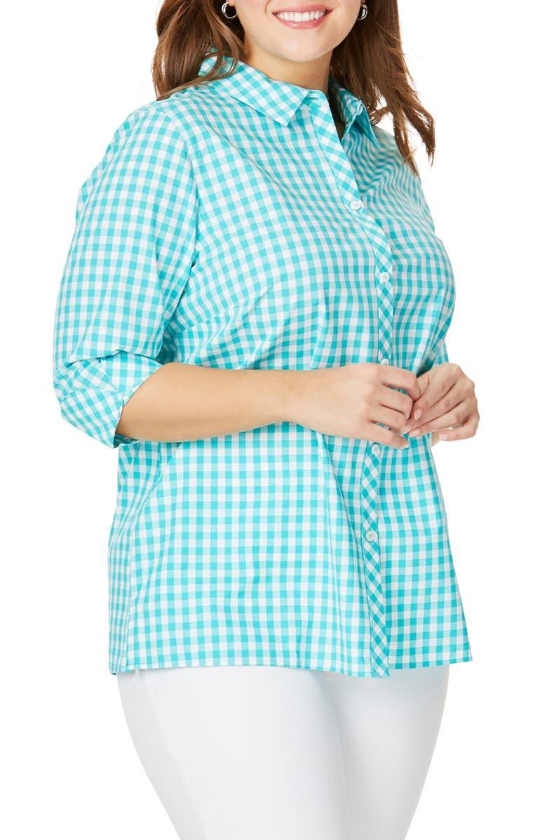 FOXCROFT Morgan Gingham Cotton Blouse, Main, color, 400