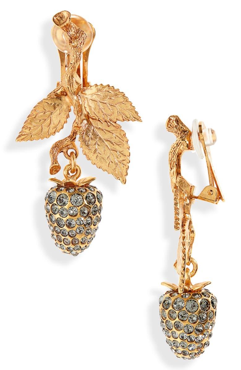 OSCAR DE LA RENTA Berry Clip-On Earrings, Main, color, GOLD