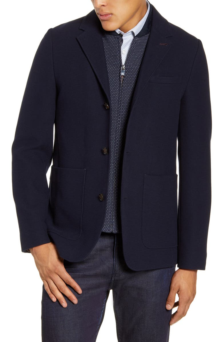 TED BAKER LONDON Fletwud Slim Fit Knit Sport Coat, Main, color, NAVY