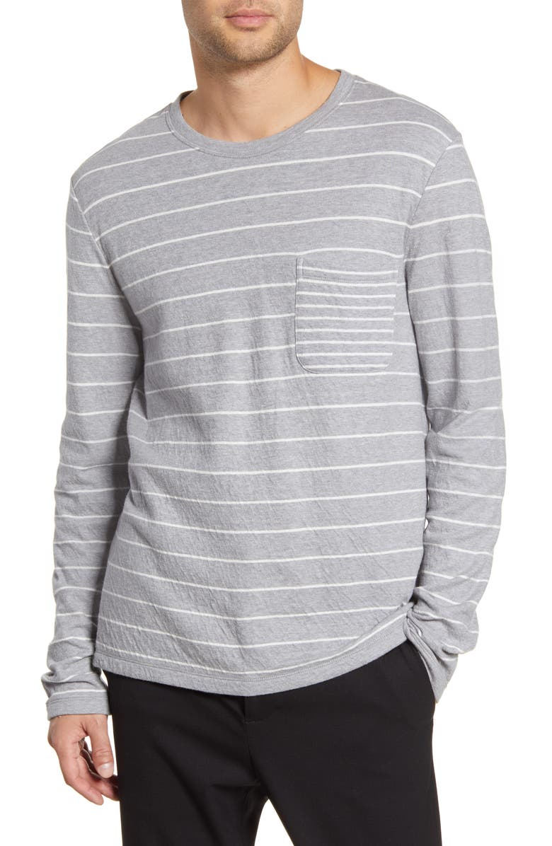 CLUB MONACO Duofold Slim Stripe Pocket T-Shirt, Main, color, GREY MULTI