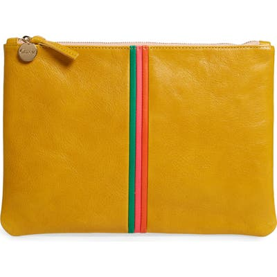 Clare V. Zip Leather Clutch - Yellow