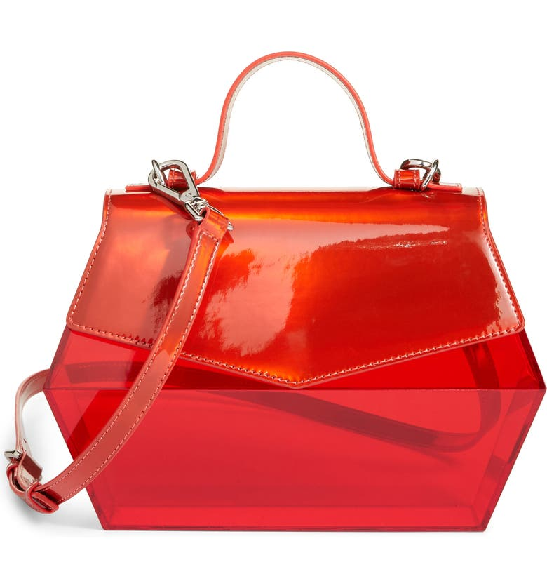 HALOGEN<SUP>®</SUP> x Atlantic-Pacific Transparent Crossbody Bag, Main, color, RED CHILI