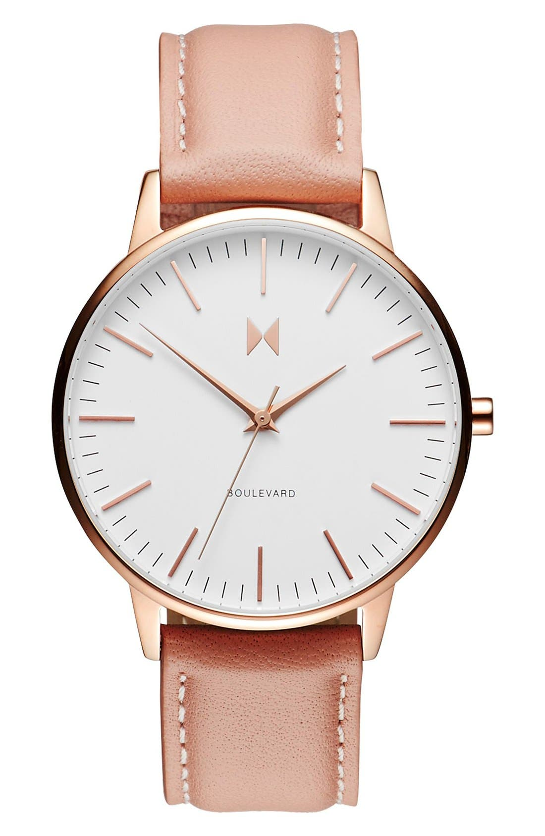 Boulevard Leather Strap Watch, 38mm, Main, color, PEACH/ WHITE/ ROSE GOLD