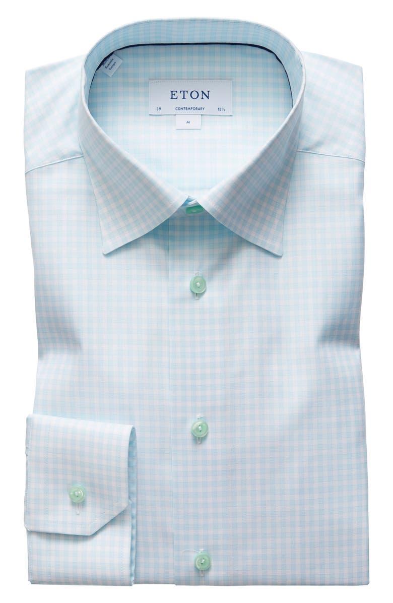 ETON Contemporary Fit Plaid Dress Shirt, Main, color, GREEN