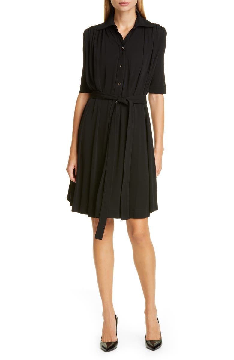 BURBERRY Cammie Jersey Shirtdress, Main, color, BLACK