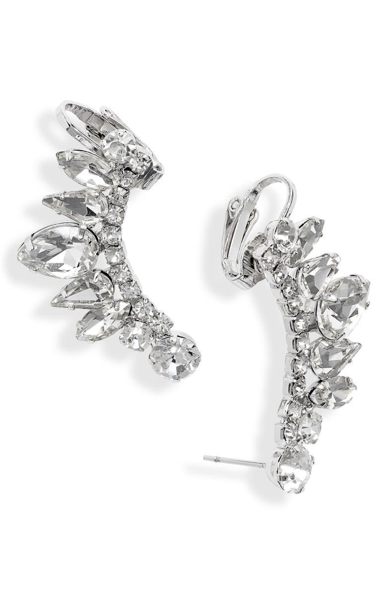 CRISTABELLE Crystal Ear Crawler Earrings, Main, color, 040