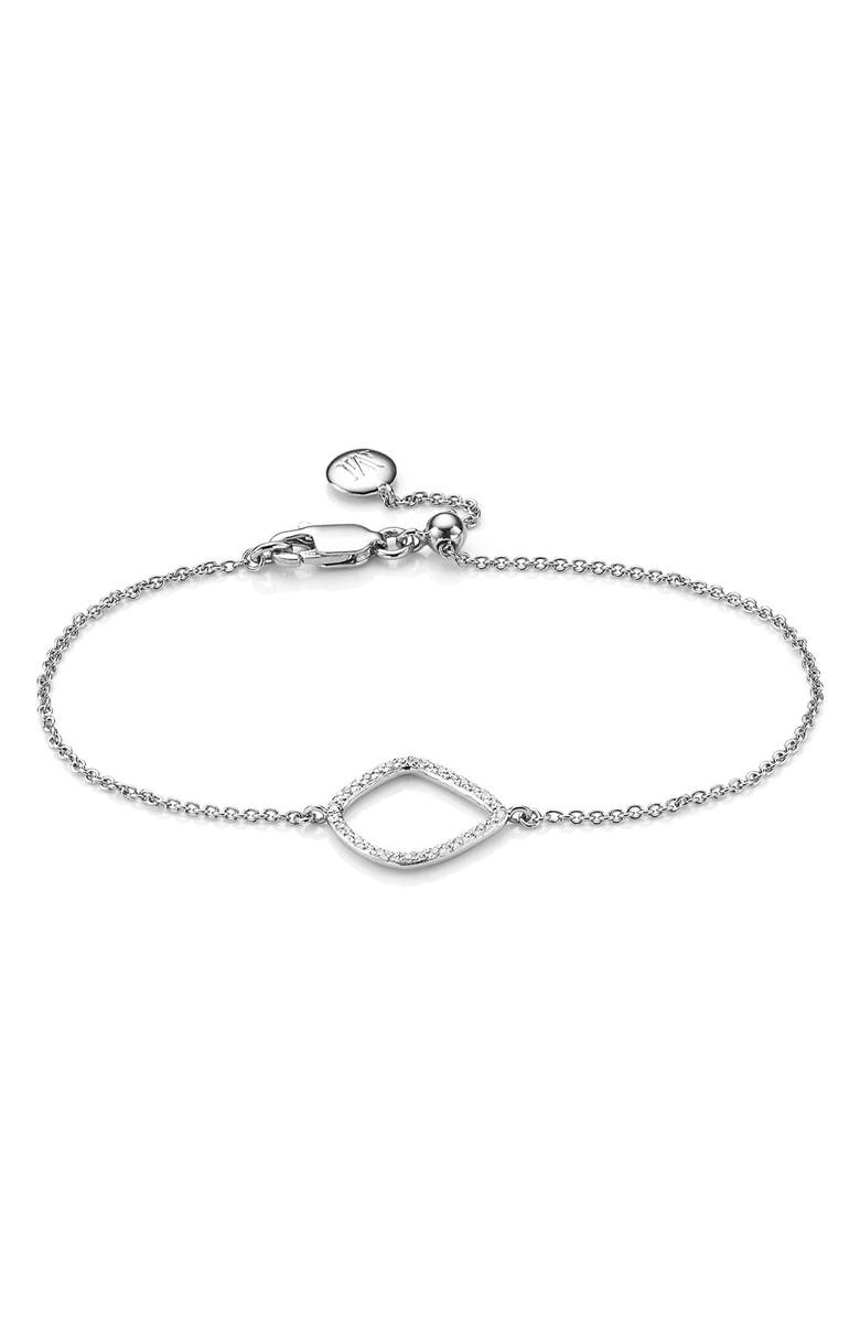 MONICA VINADER Riva Kite Adjustable Diamond Bracelet, Main, color, SILVER
