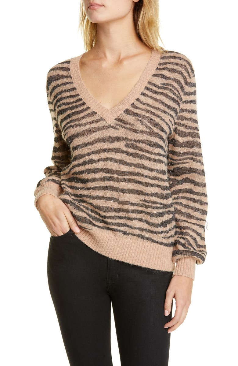 JOIE Inira Tiger Stripe Metallic Sweater, Main, color, GINGER