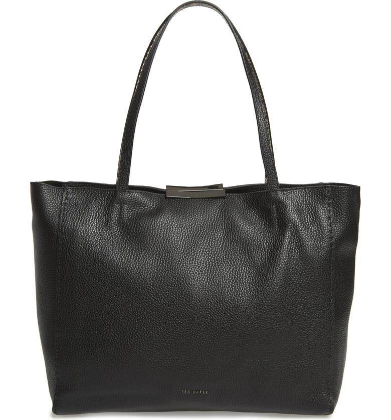 TED BAKER LONDON Jordun Exotic Leather Shopper & Snake Embossed Leather Pouch, Main, color, BLACK