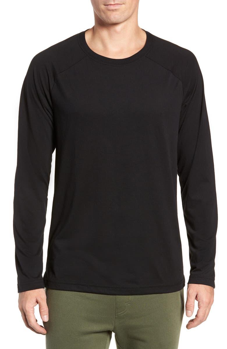 ALO Triumph Raglan Long Sleeve T-Shirt, Main, color, SOLID BLACK TRIBLEND