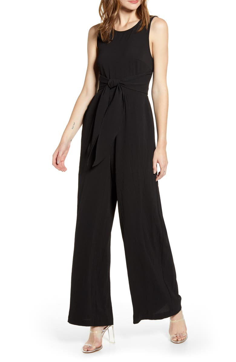 ALL IN FAVOR Tie Waist Wide Leg Jumpsuit, Main, color, 001