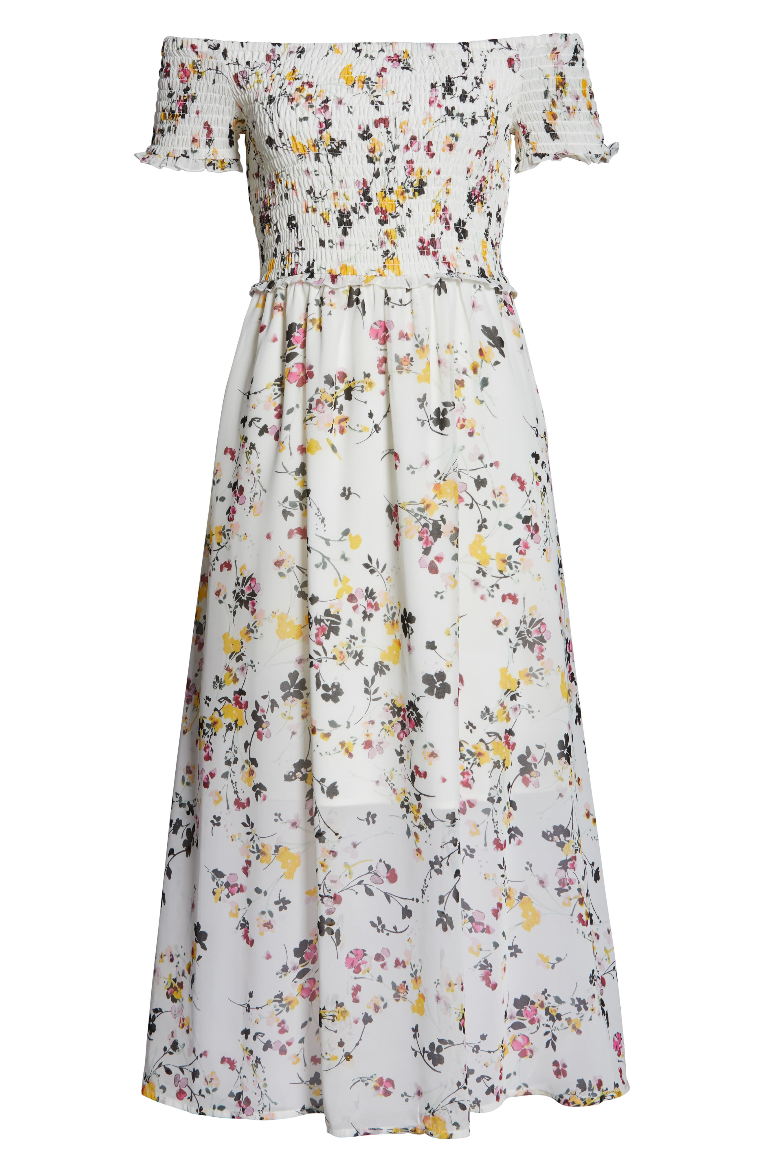 ,                             Floral Off the Shoulder Midi Dress,                             Alternate thumbnail 7, color,                             WHITE MULTI