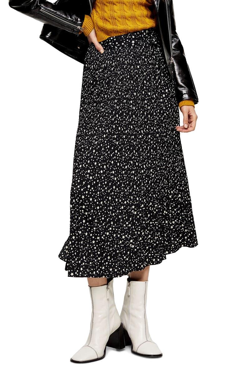TOPSHOP Star Pleat Midi Skirt, Main, color, BLACK MULTI