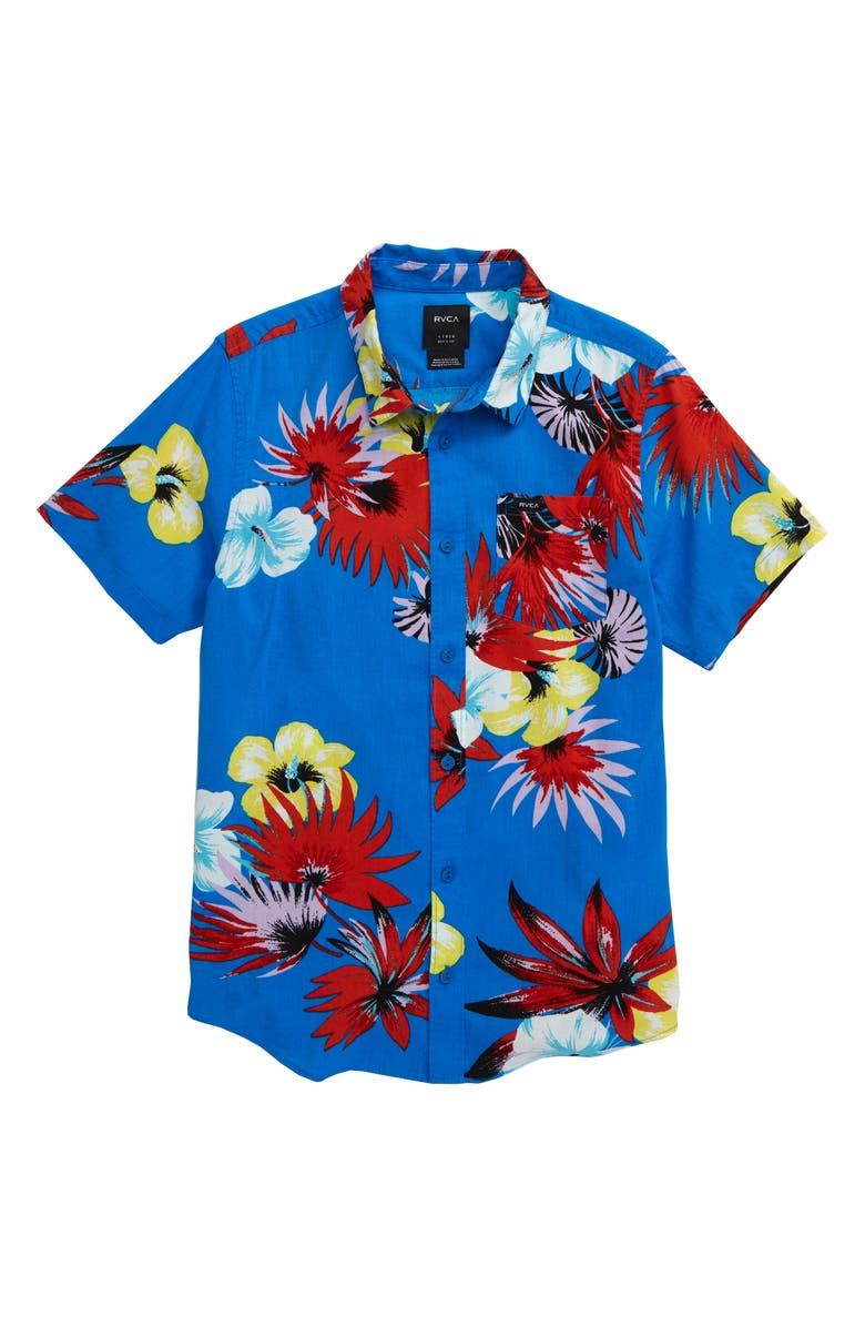 RVCA Romeo Floral Print Button-Up Shirt, Main, color, ROYAL