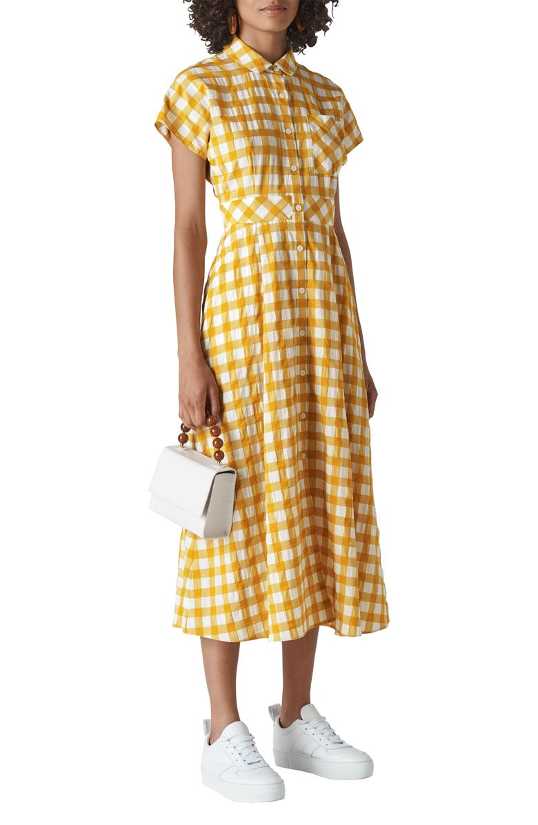 WHISTLES Check Shirtdress, Main, color, YELLOW/ MULTI