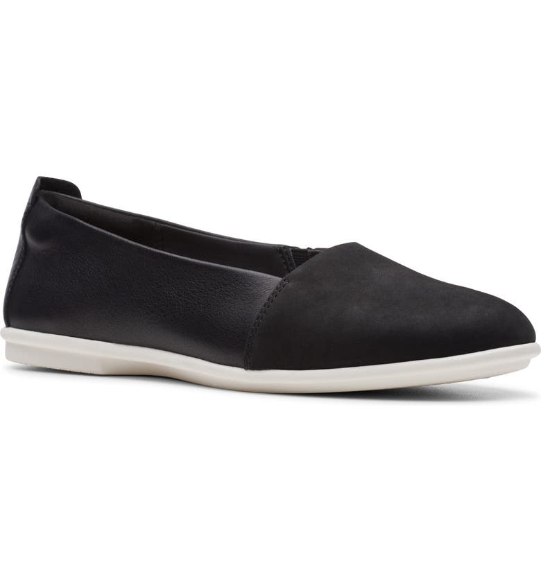 CLARKS<SUP>®</SUP> Un Coral Flat, Main, color, BLACK NUBUCK/ LEATHER