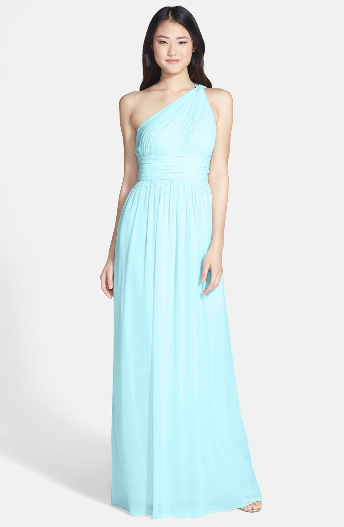 ,                             'Rachel' Ruched One-Shoulder Chiffon Gown,                             Main thumbnail 63, color,                             402