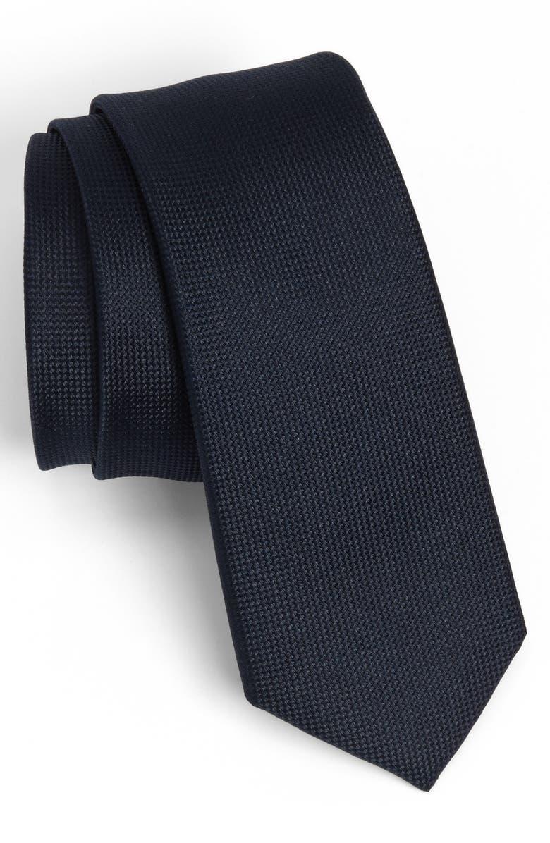 THE TIE BAR Woven Silk Tie, Main, color, NAVY