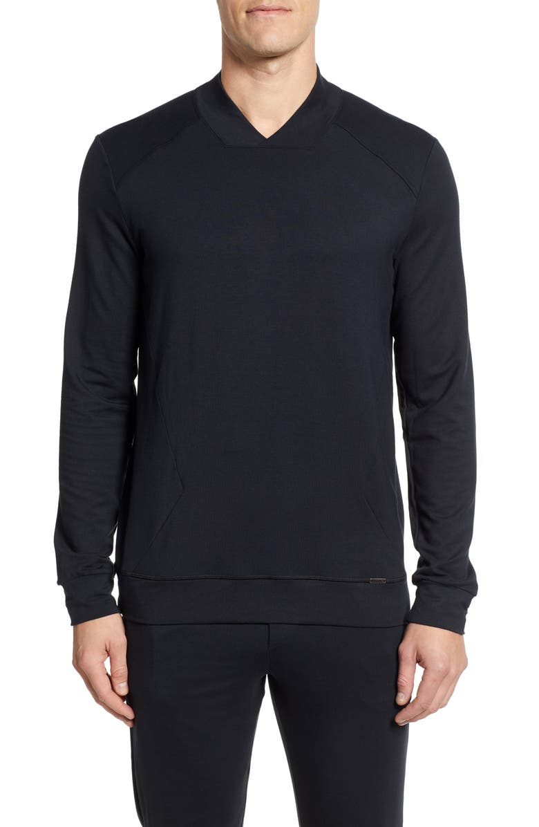 HANRO Living Relax Sweatshirt, Main, color, BLACK