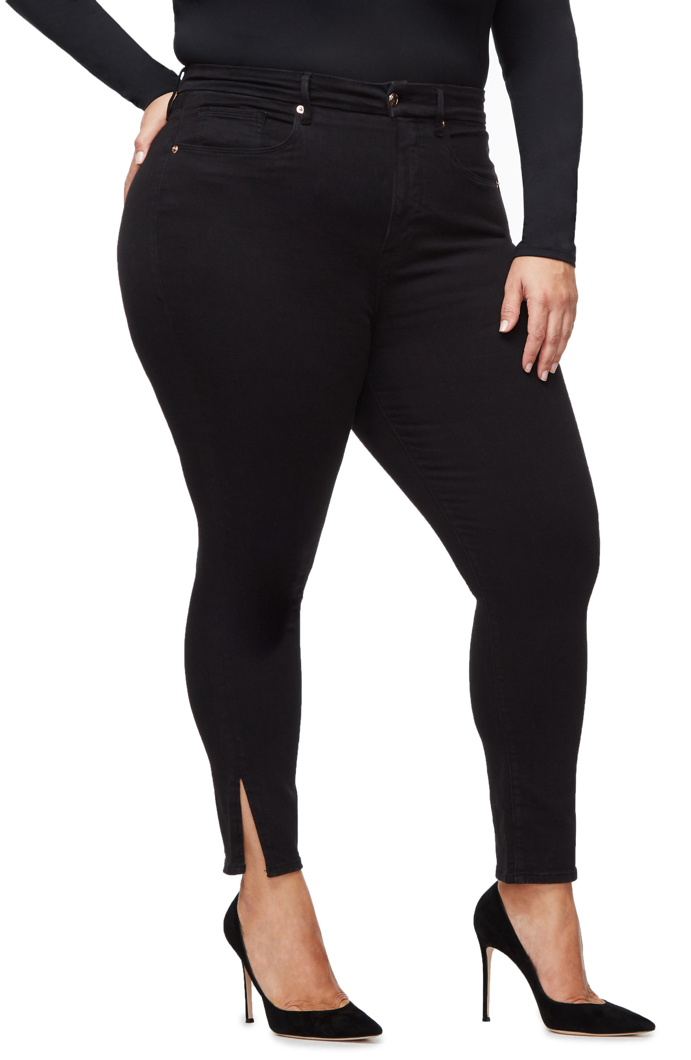 ,                             Good Legs Split Hem Ankle Skinny Jeans,                             Alternate thumbnail 10, color,                             BLACK001