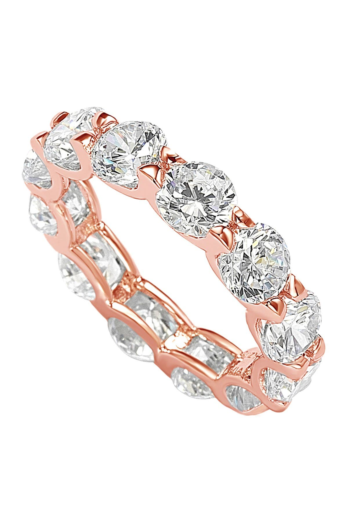 Image of Suzy Levian Rose-Tone Sterling Silver Round Cut CZ Eternity Band Ring