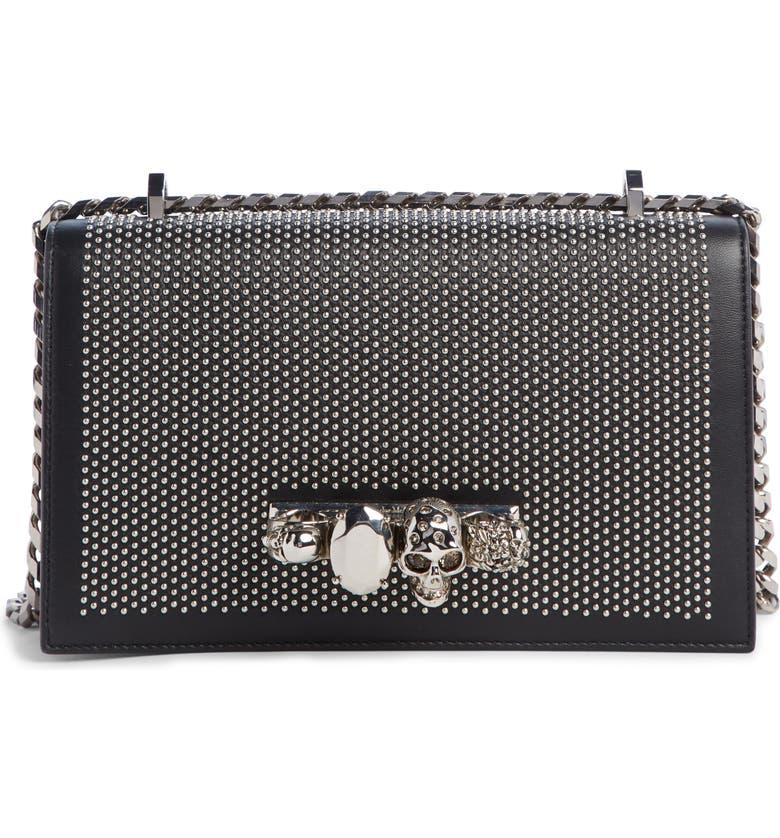 ALEXANDER MCQUEEN Studded Leather Crossbody Knuckle Bag, Main, color, BLACK