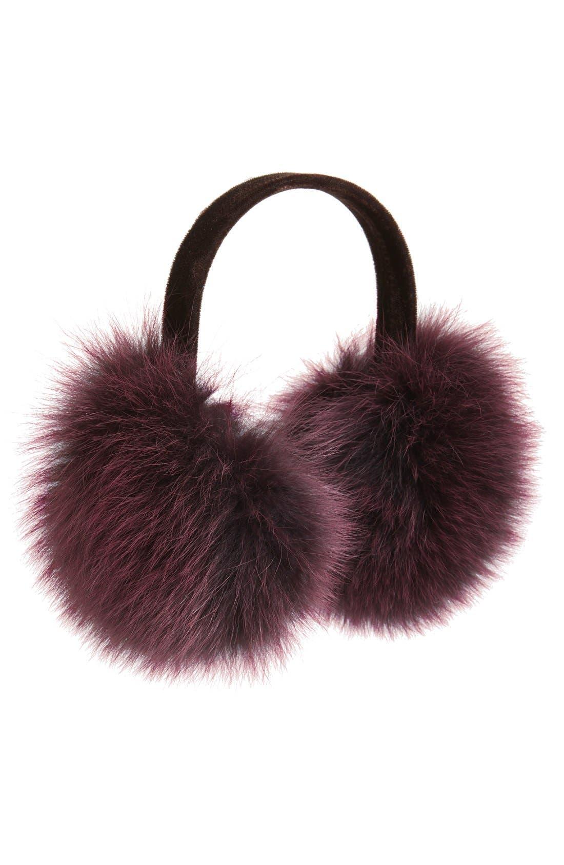 ,                             Genuine Fox Fur Earmuffs,                             Main thumbnail 17, color,                             600