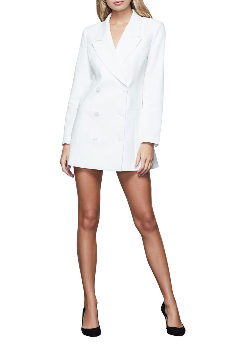 GOOD AMERICAN Long Sleeve Double Breasted Blazer Dress, Main, color, IVORY