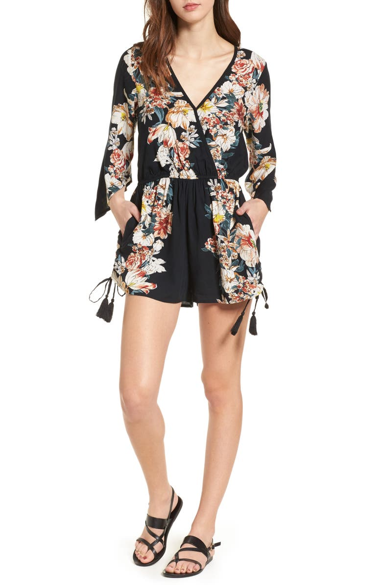 BAND OF GYPSIES Floral Print Surplice Romper, Main, color, 001
