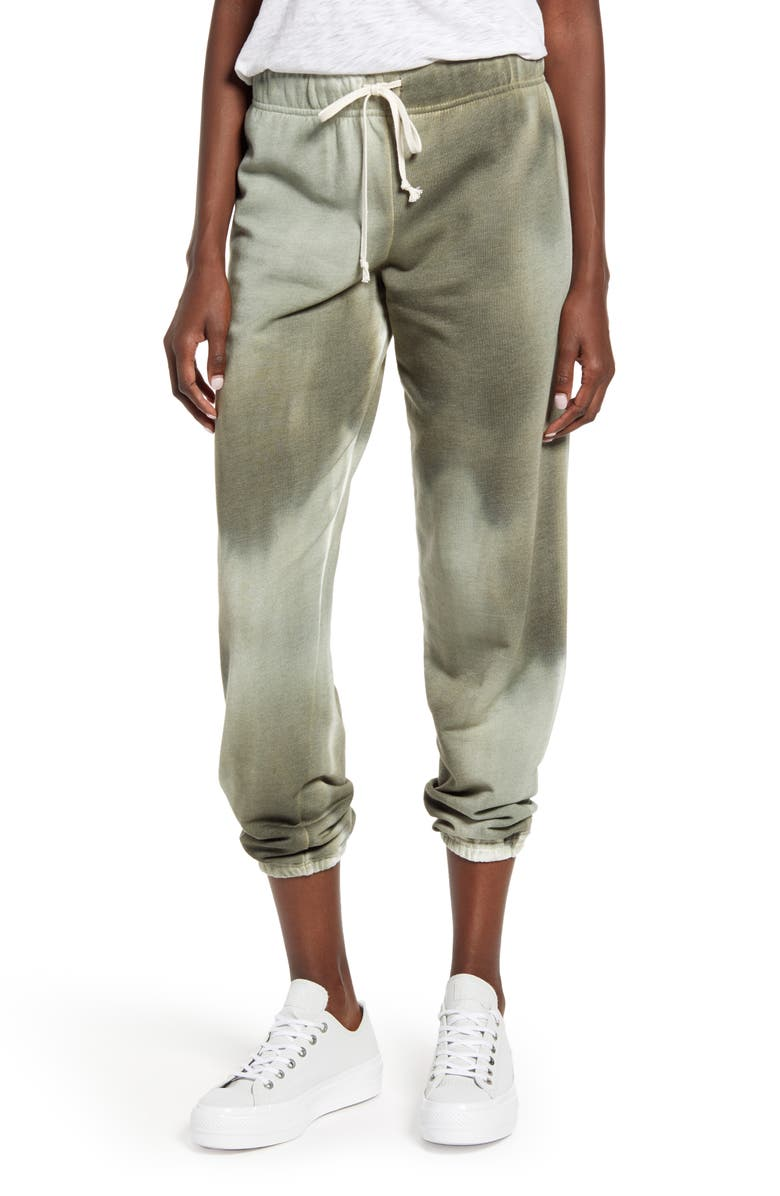 TREASURE & BOND Tie Dye Sweatpants, Main, color, GREEN- IVORY COMBO