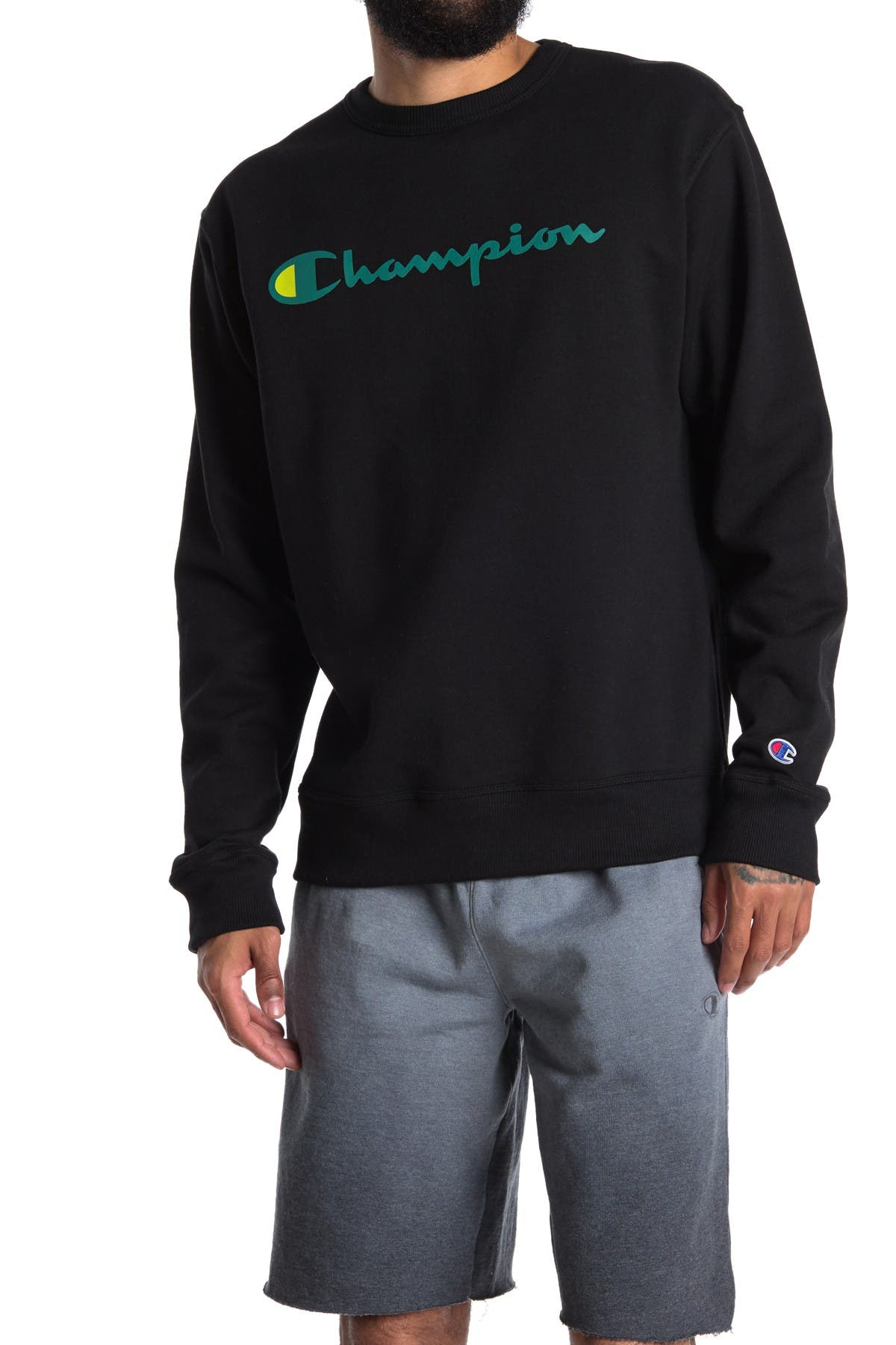 Details about  /Champion Graphic Powerblend Crew Neck Pullover gray XL  bys