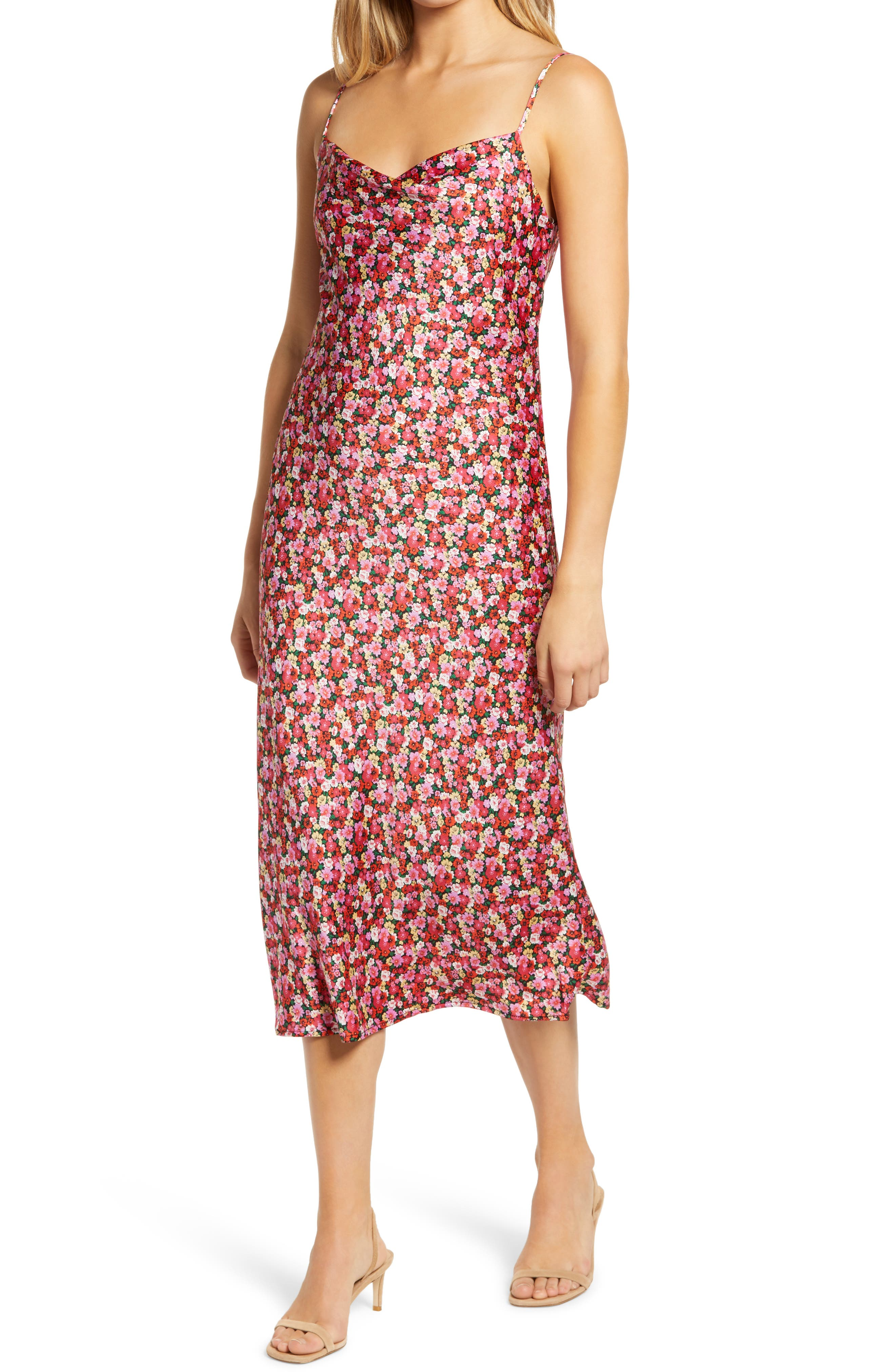 Cut from rich satin, this printed, cowl-neck slipdress enlivens any sweet occasion. Style Name: All In Favor Cowl Neck Satin Midi Dress. Style Number: 6031921. Available in stores.