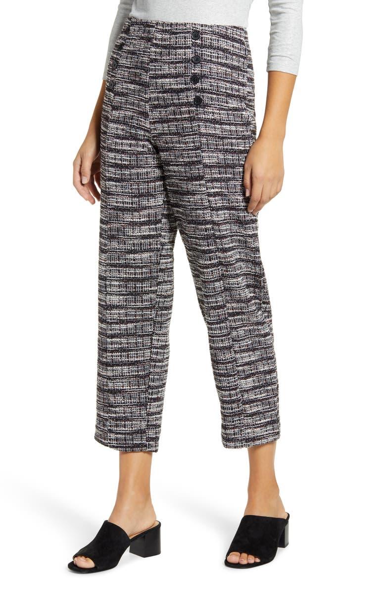 BOBEAU Tweed Knit Sailor Pants, Main, color, 008