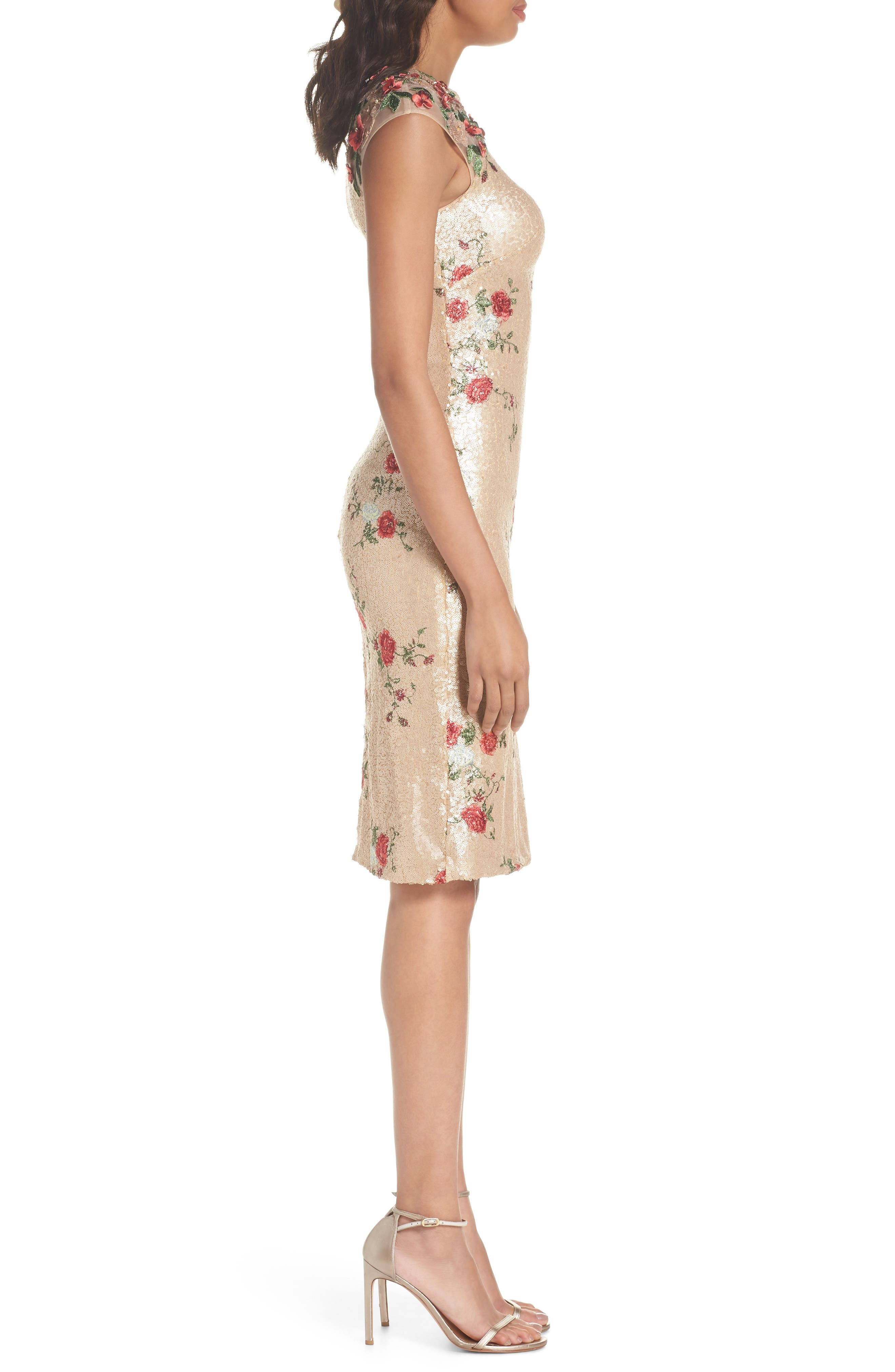 ,                             Sequin & Embroidery Sheath Dress,                             Alternate thumbnail 4, color,                             CHAMPAGNE ROSE