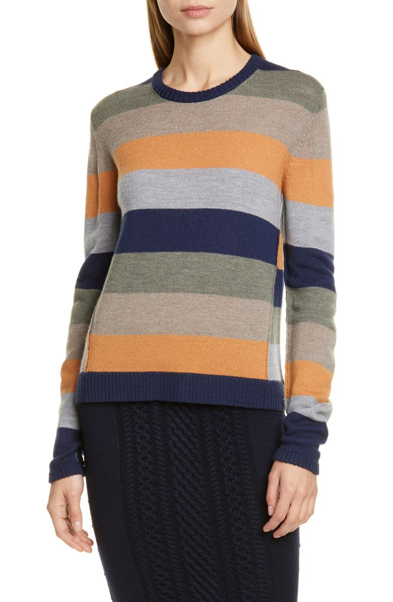 ATM ANTHONY THOMAS MELILLO Stripe Merino Wool Sweater, Main, color, MULTICOLOR COMBO