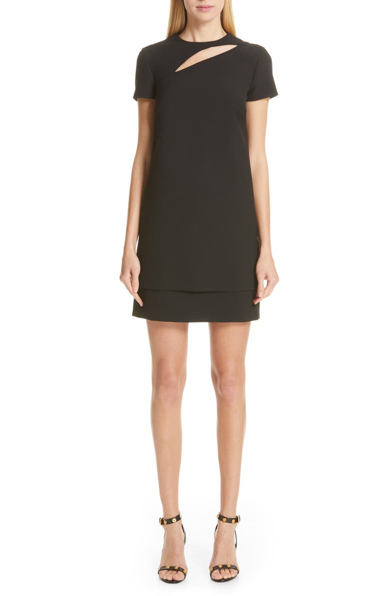 VERSACE COLLECTION Cutout Stretch Cady Dress, Main, color, 001