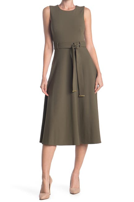 Image of Calvin Klein Belted Sleeveless Midi Dress